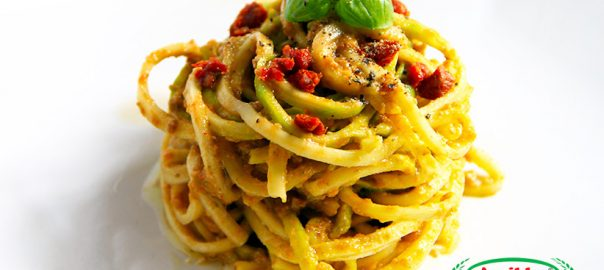 spaghetti with trapanese pesto and capuliato (raw recipe)